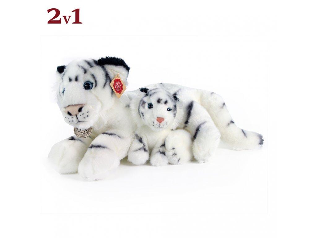 Plyšový tygr bílý s mládětem 38 cm
