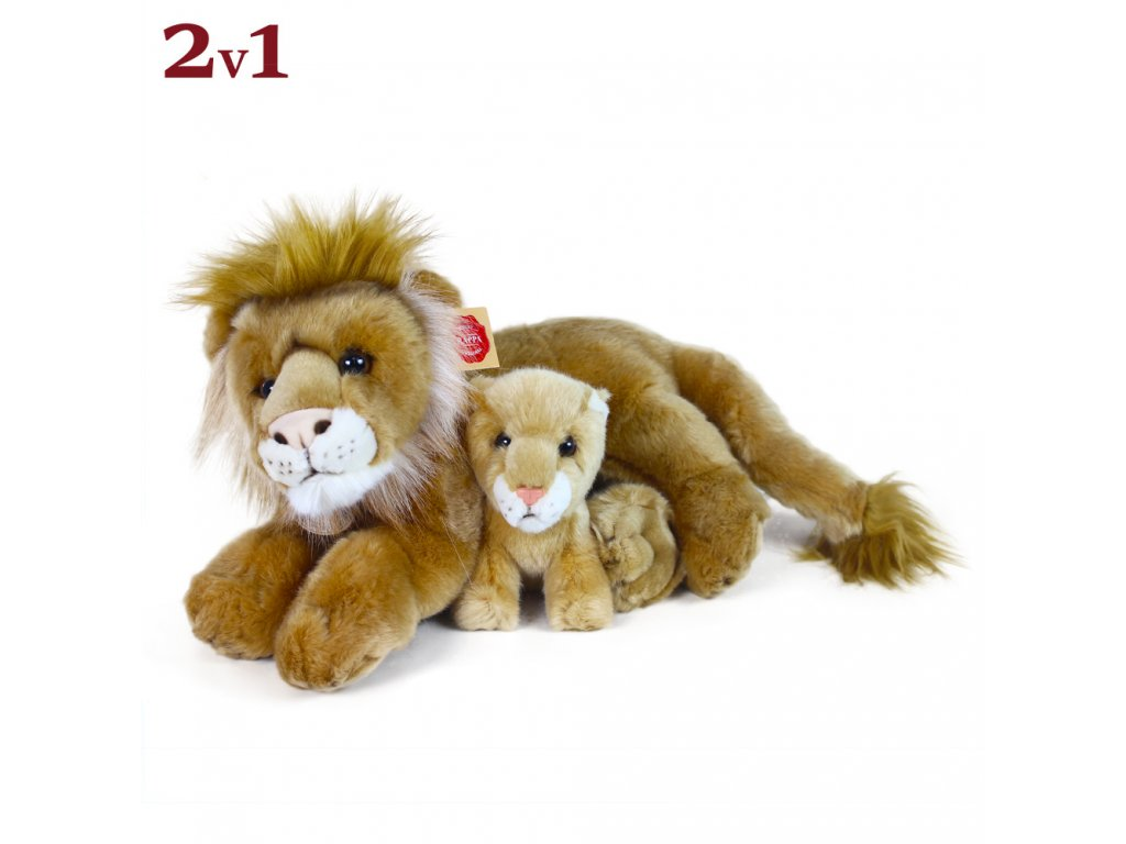 Plyšový lev ležící s mládětem 40 cm