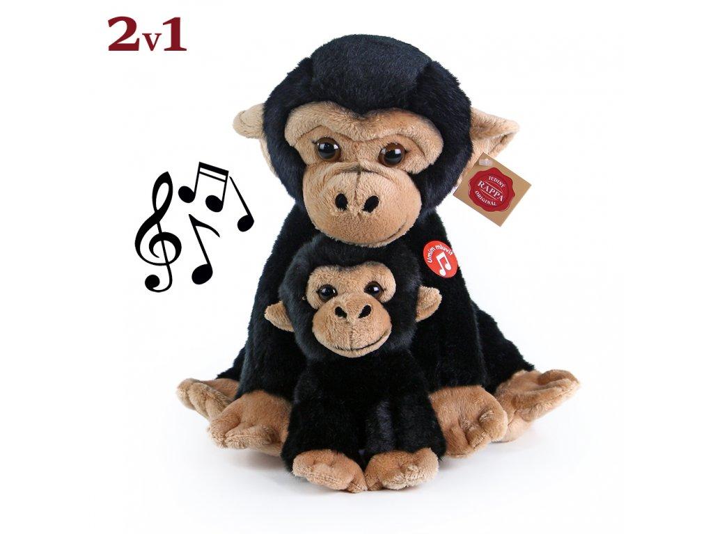 Plyšová opice sedící s mládětem se zvukem 27 cm