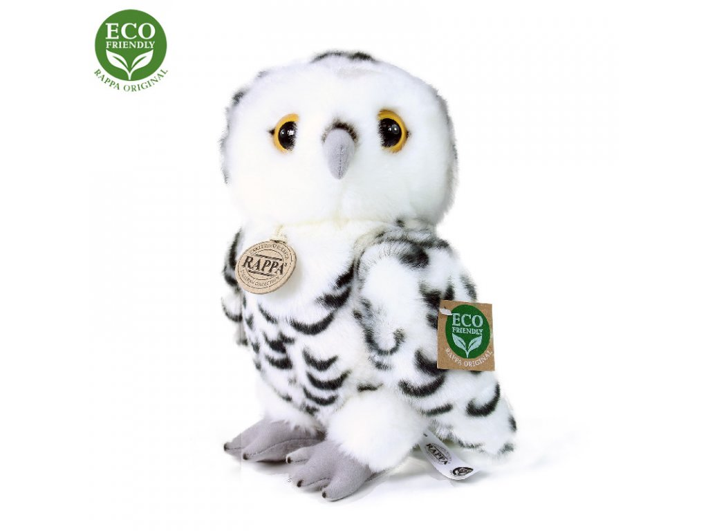 Plyšová sova bílá 25 cm ECO-FRIENDLY