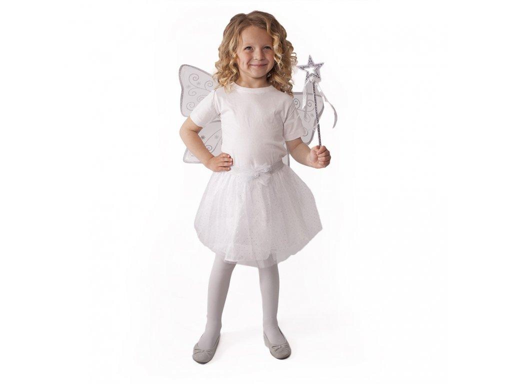 Dětský kostým tutu sukně bílá motýl s křídly a hůlkou