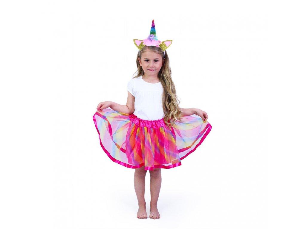 Dětský kostým tutu sukně s čelenkou jednorožec