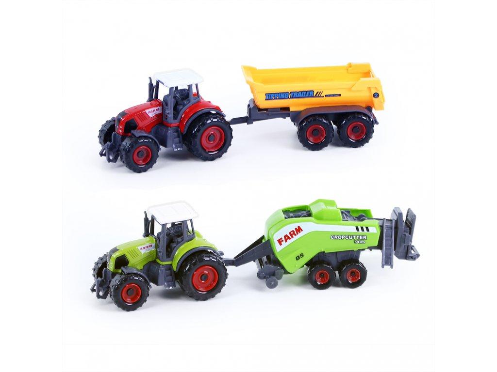 Kovový traktor s vlečkou 2 ks