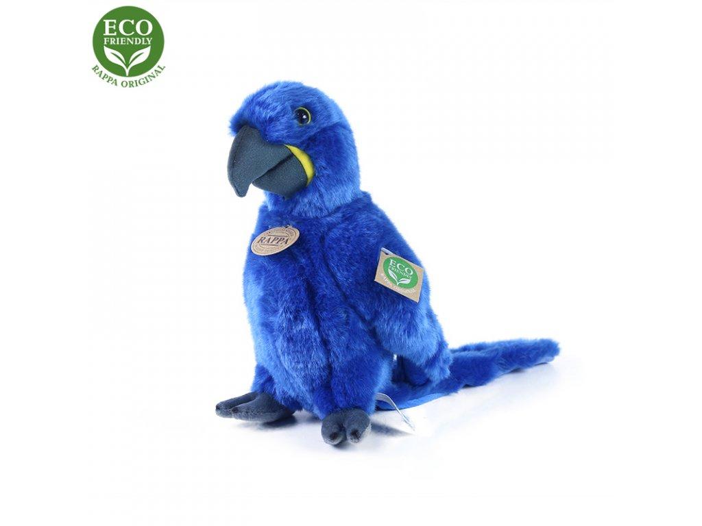 Plyšový papoušek modrý Ara Hyacintový stojící 23 cm ECO-FRIENDLY