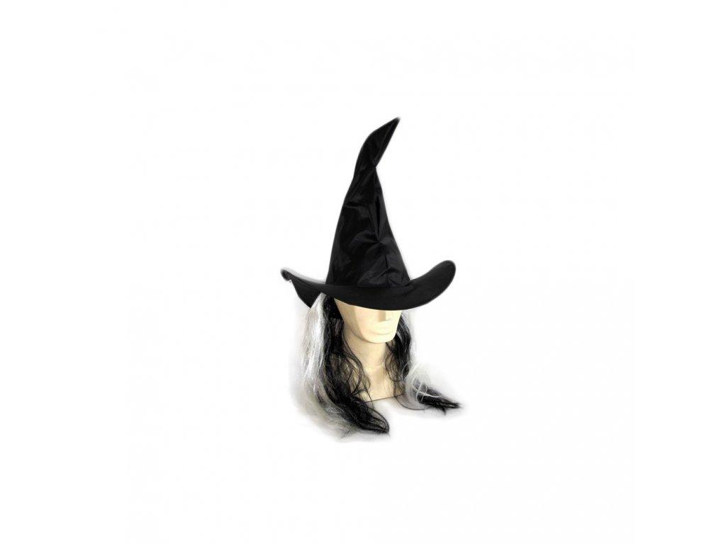Klobouk čarodějnický s vlasy pro dospělé