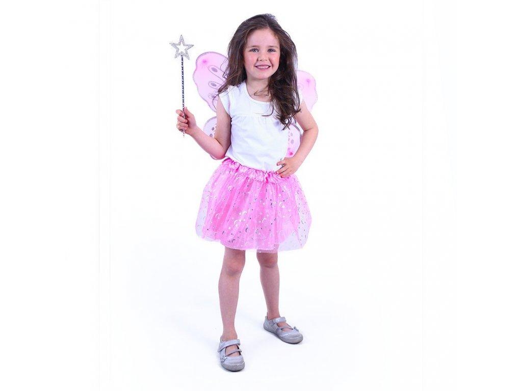 Dětský kostým tutu sukně růžová motýl s hůlkou a křídly