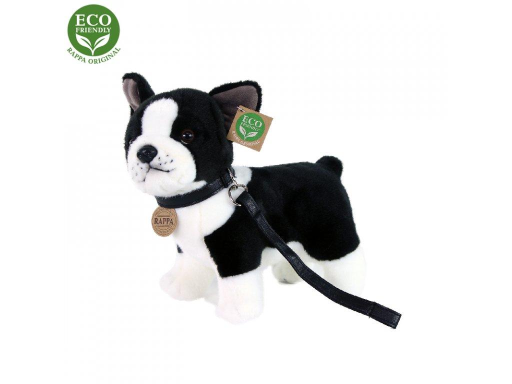 Plyšový pes francouzský buldoček s vodítkem stojící 23 cm ECO-FRIENDLY