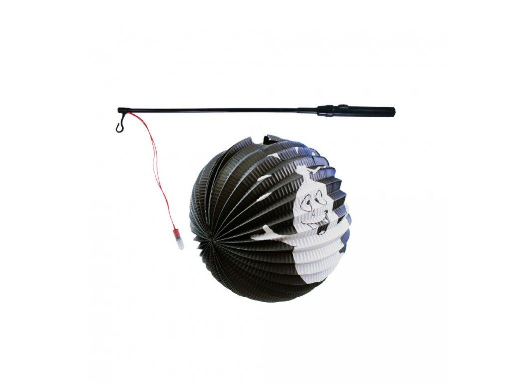 Lampion duch Halloween koule 25 cm se svítící hůlkou 39 cm