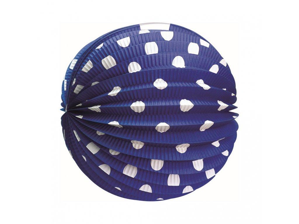 Lampion kulatý papírový modrý 25 cm