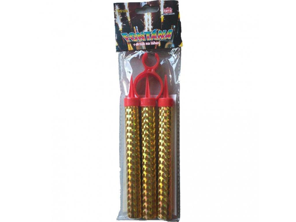 Fontána párty zlatá s držákem na láhev 40 sek 12 cm 3 ks
