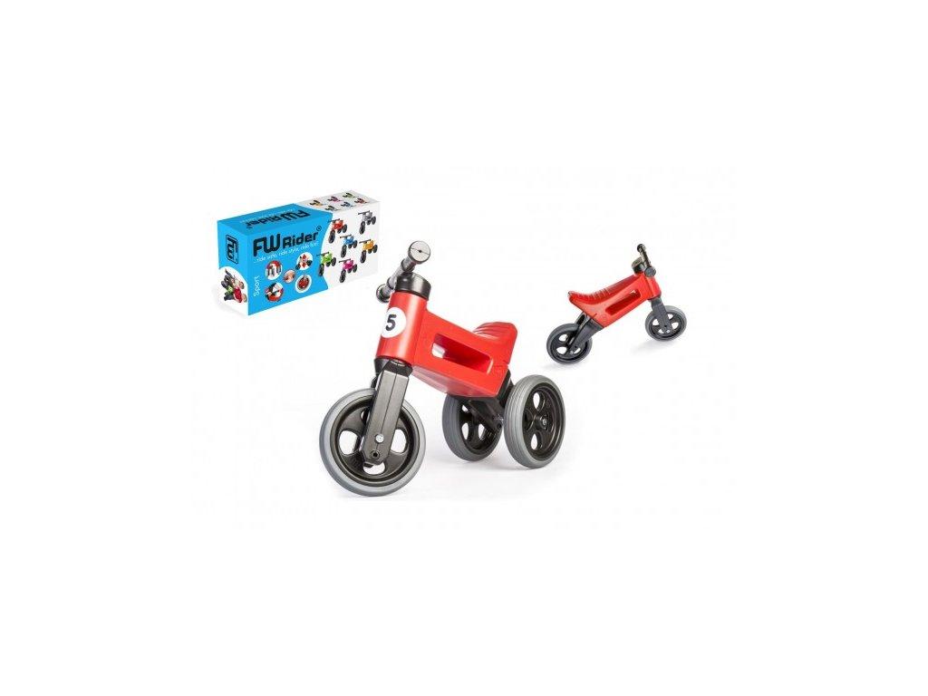 53006 odrazedlo funny wheels rider sport cervene 2v1 vyska sedla 28 30cm nosnost 25kg 18m v krabici