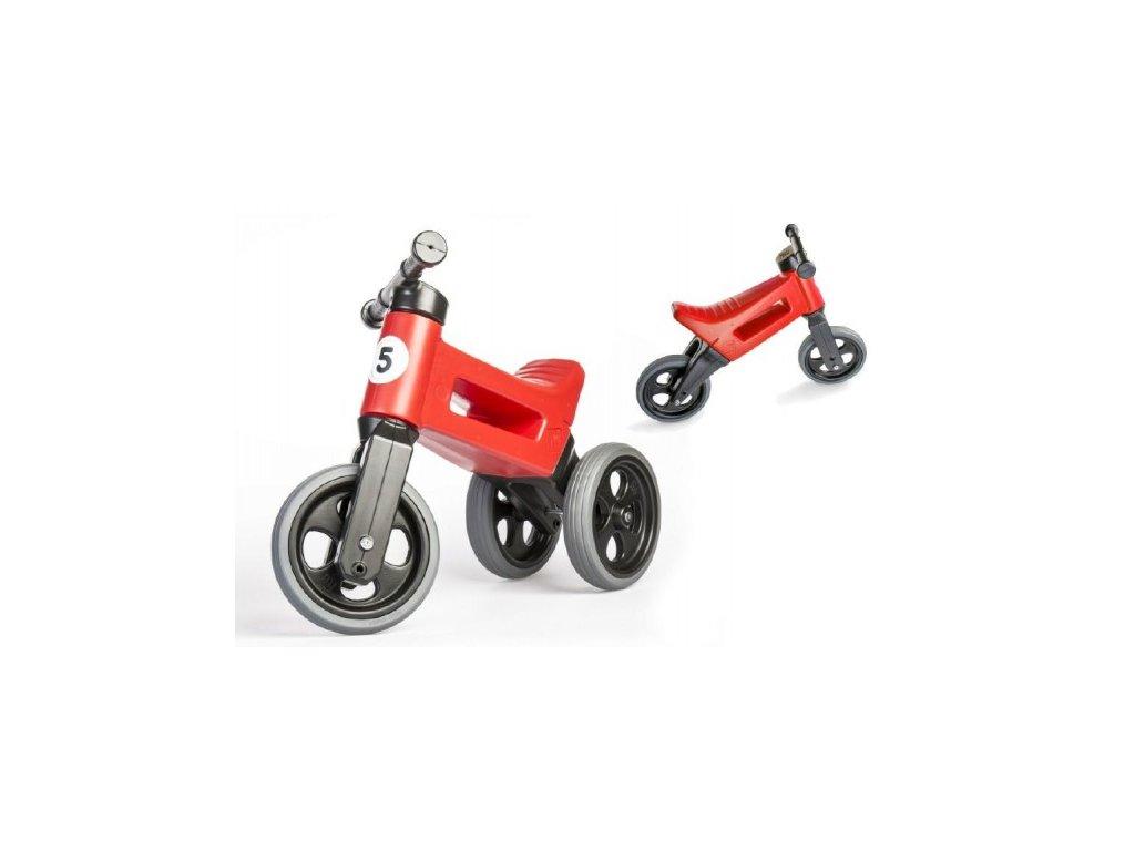 23988 odrazedlo funny wheels rider sport cervene 2v1 vyska sedla 28 30cm nosnost 25kg 18m v sacku
