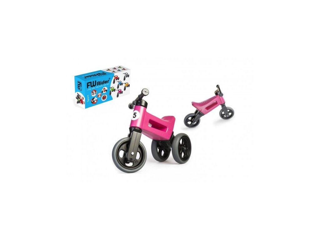 54893 odrazedlo funny wheels rider sport ruzove 2v1 vyska sedla 28 30cm nosnost 25kg 18m v krabici