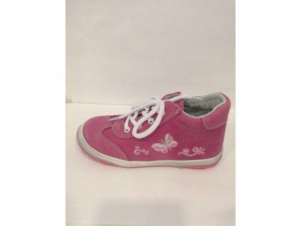Jonap Celoroční kožená obuv 011 M růžový motýl (Velikost 27)