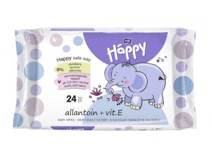 Happy Bella čistící ubrousky s alantoinem a vitamínem E - 24 ks