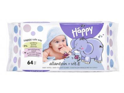 Happy Bella čistící ubrousky s alantoinem a vitamínem E - 64 ks