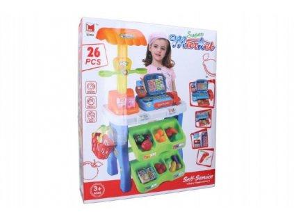 Hrací sada supermarket pokladna 26ks plast 50x87cm na baterie se zvukem se světlem v krabici