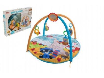 Hrací podložka/Hrazda pro děti a chrastítky plyš/plast v krabici 61x46x8cm 0m+