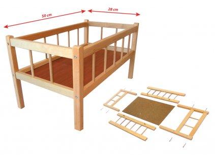 Dřevěná postýlka 50 x 28 cm
