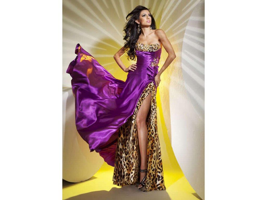 sexy fialové leopardí plesové společenské šaty Debbie