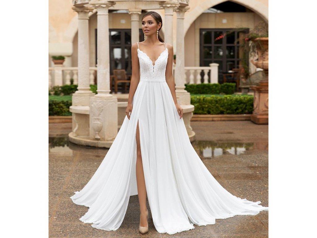 boho svatební šaty na ramínka s rozparkem Becca
