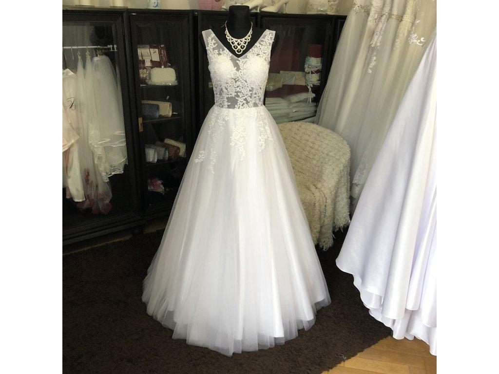 tylové svatební šaty na ramínka Mina