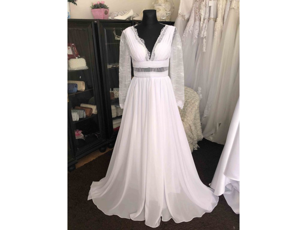 boho svatební šaty s rukávky Melody