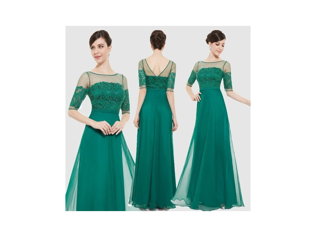 lahvově zelené dlouhé společenské šaty s rukávky