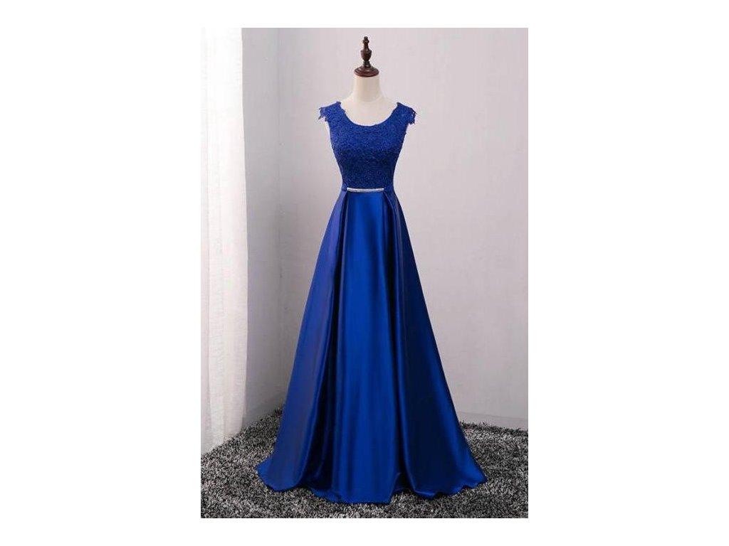 modré dlouhé saténové plesové šaty s krajkou Mona