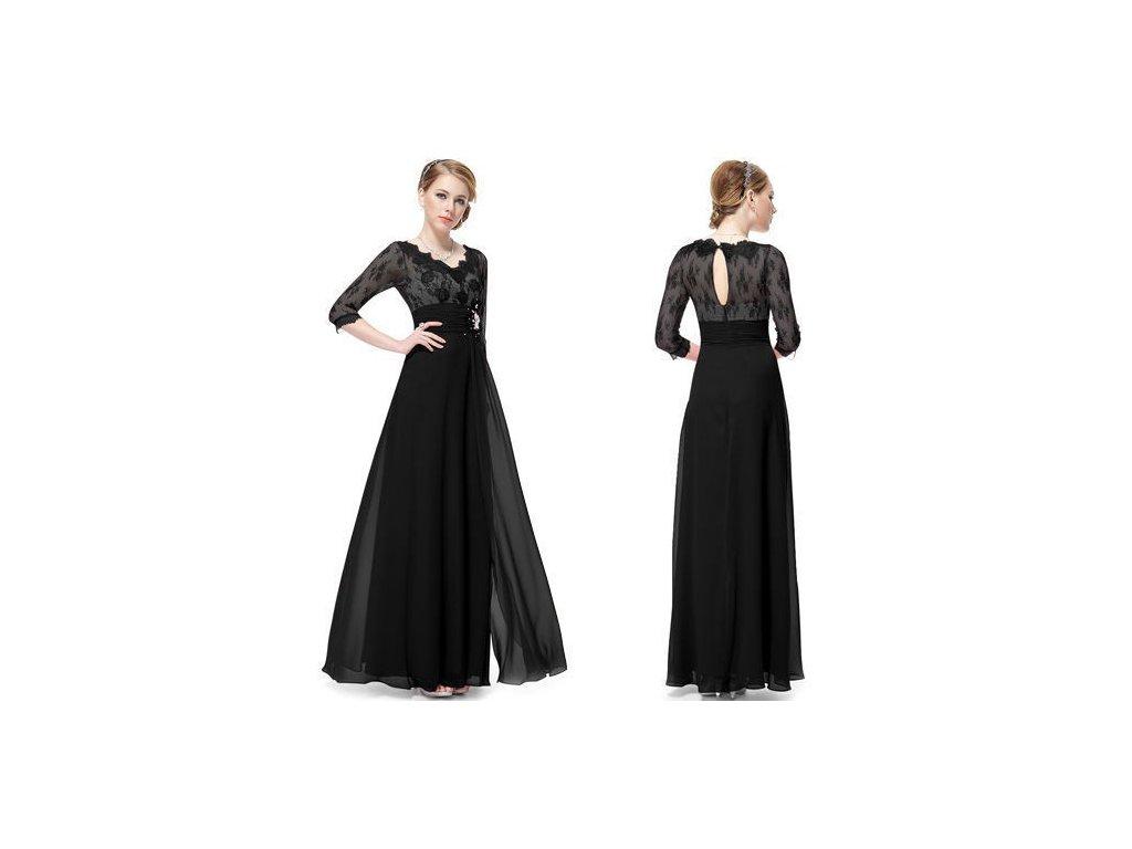 dlouhé černé společenské šaty s rukávky Donna