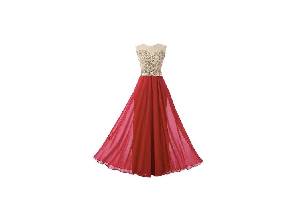 dlouhé splívané plesové vínové šaty Leroy