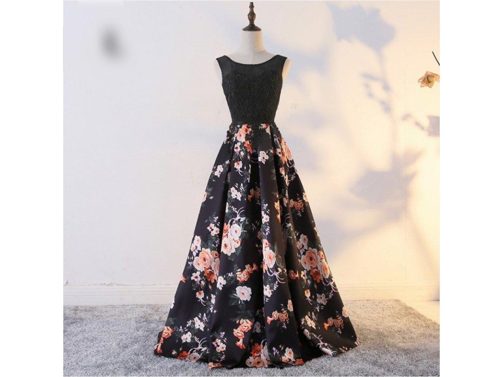 dlouhe plesove cerne spolecenske saty s kvetovanou sukni alyce s m