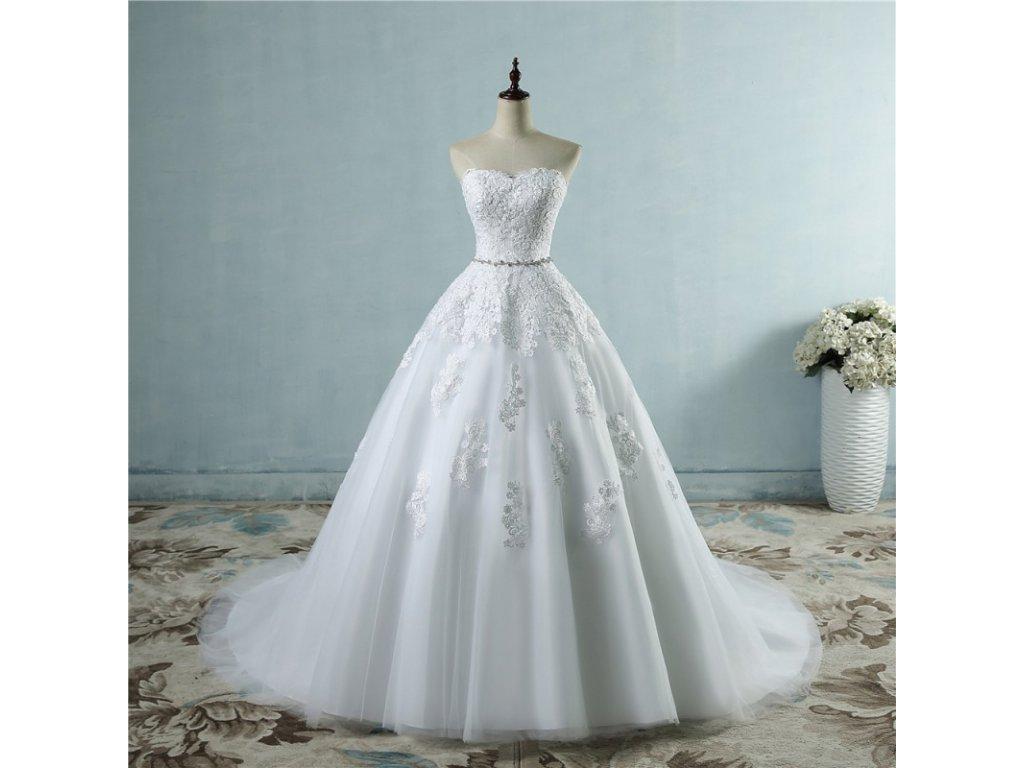 luxusni svatebni saty s bohatou tylovou sukni greta xs s
