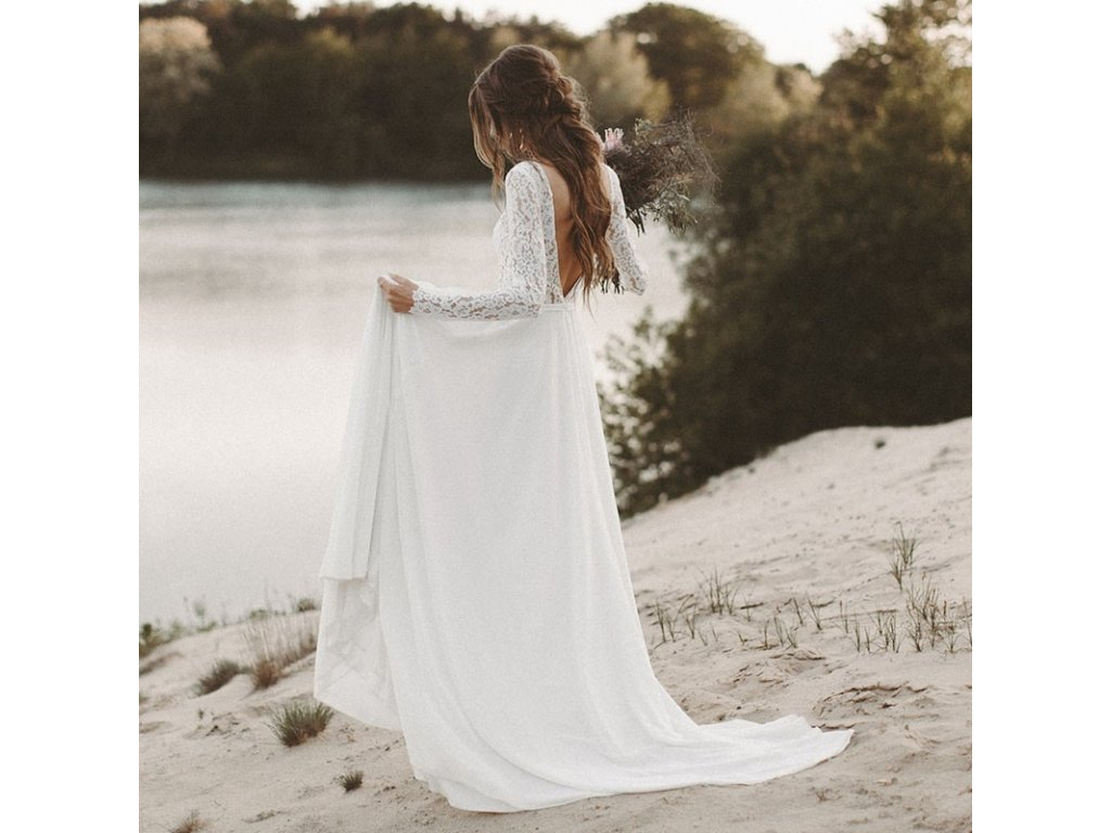 kremove boho svatebni saty s krajkovymi rukavky xs