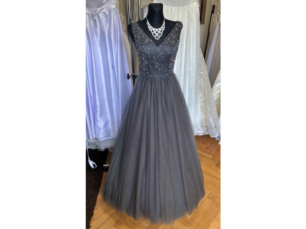tmavě šedé plesové šaty na maturitní ples Annie