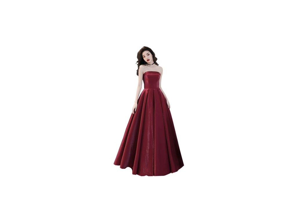 plesové šaty na maturitní ples saténové Eliza vínové