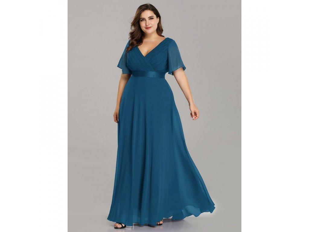 petrolejové dlouhé společenské šaty Lisbet