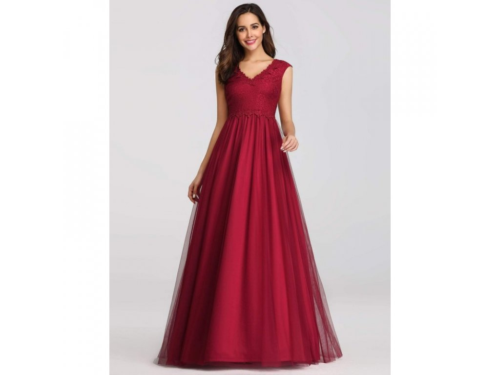 cervene dlouhe spolecenske saty s tylovou sukni m 2