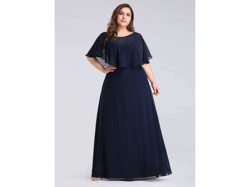 tmavě modré společenské šaty s všitým přehozem