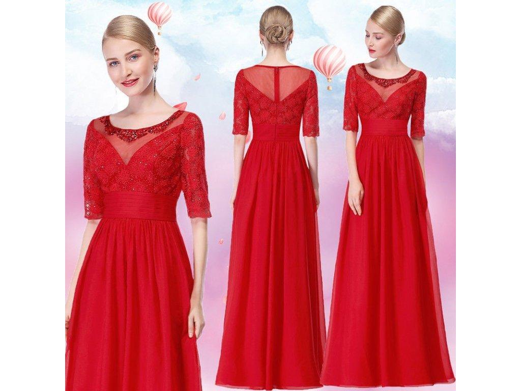 cervene spolecenske saty pro matku nevesty s rukavky xl