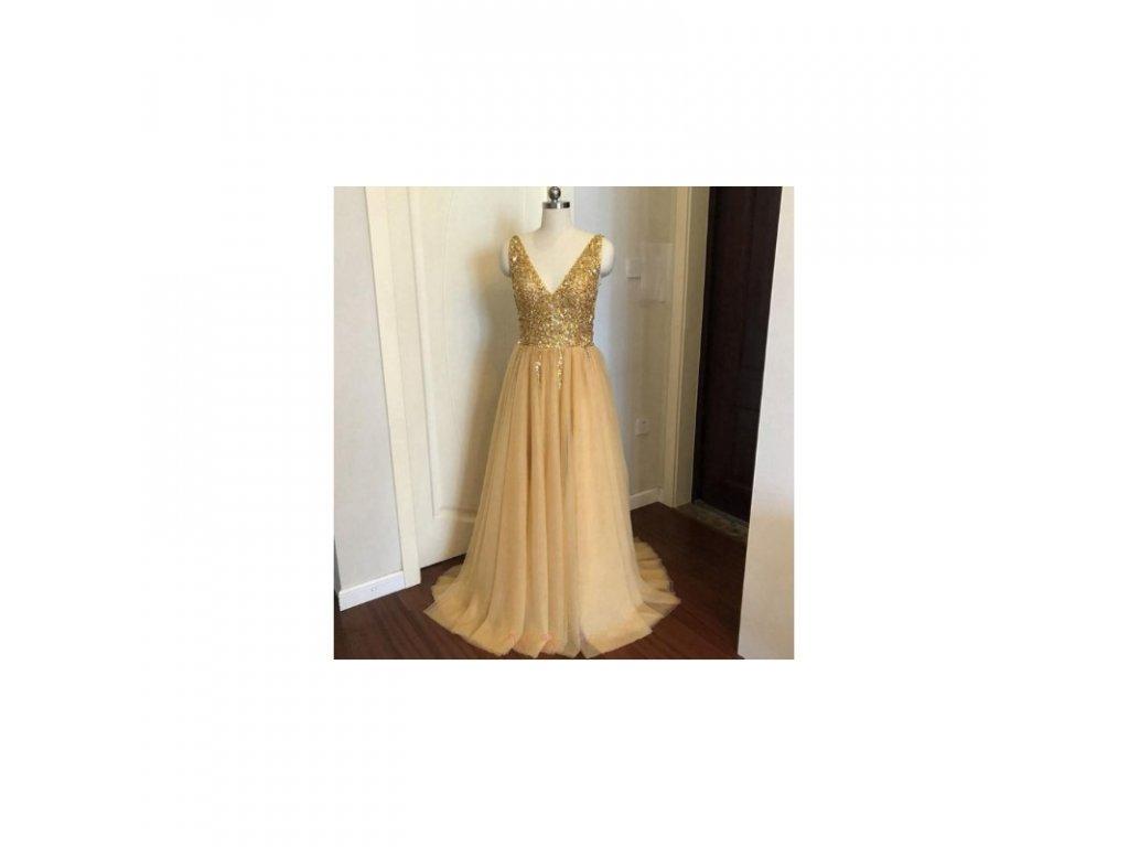 zlate plesove saty s tylovou sukni alicia xs s