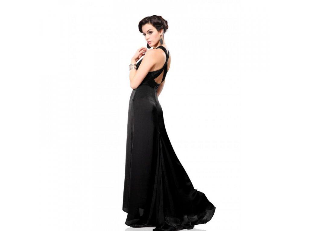 elegantní černé dlouhé společenské šaty Alisa