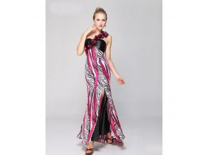 luxusni barevne dlouhe spolecenske saty eliza na jedno rameno m 2