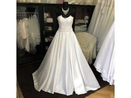 saténové svatební šaty s krajkovým živůtkem Hannah