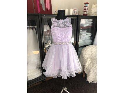 světle fialové krátké společenské šaty na ples Tina