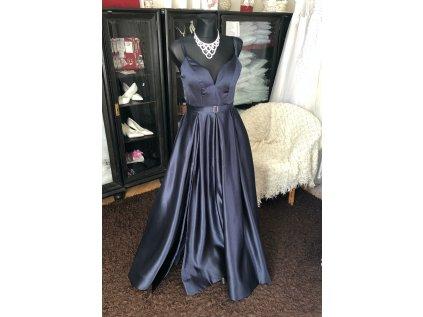 tmavě modré plesové šaty na maturitní ples s vysokým rozparkem Tina