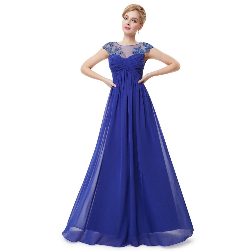 dlouhé modré společenské šaty na ramínka Talinda Barva: Modrá, Velikost: XS