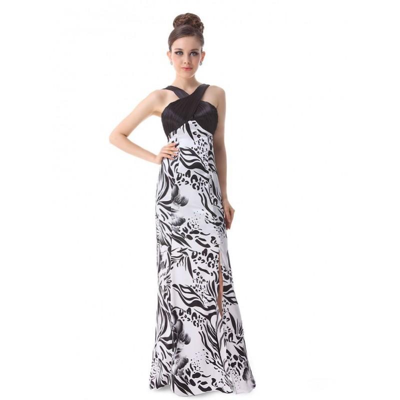 dlouhé společenské černo-bílé šaty Barva: Bílá, Velikost: S