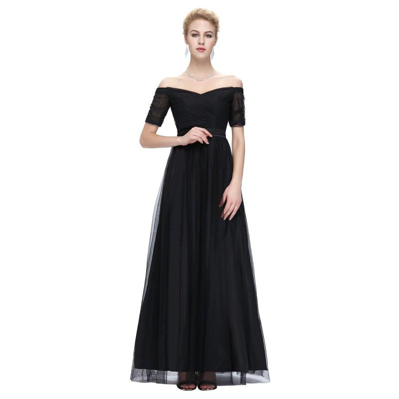 dlouhé černé společenské šaty tylové na ramínka Barva: Černá, Velikost: L