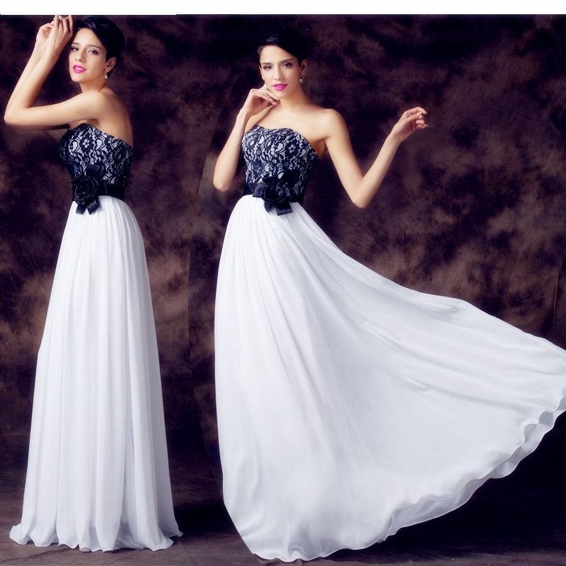 luxusní černo-bílé společenské šaty s krajkou Evita Barva: Bílá, Velikost: S-M